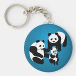 Panda Family of Three Keychain