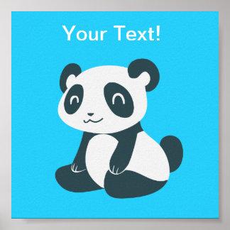 Panda feliz linda del dibujo animado póster