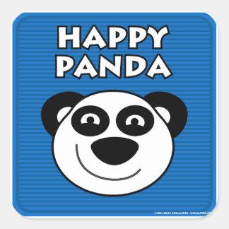 Panda feliz pegatina cuadradas personalizada