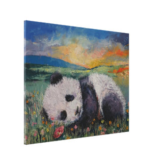 Panda Flowers Canvas Print