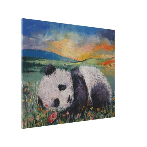 Panda Flowers Stretched Canvas Print