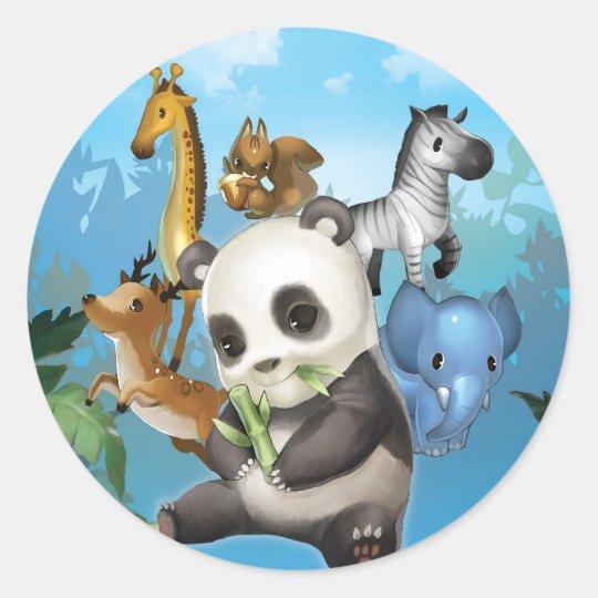panda & friend classic round sticker