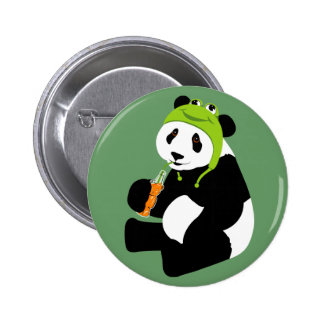 Panda Frog Hat 2 Inch Round Button