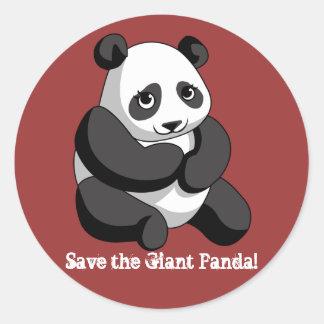 Panda gigante pegatina redonda
