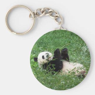 Panda gigante que gandulea comiendo el bambú llavero redondo tipo pin