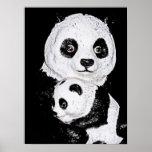 Panda gigante y Cub, estilo 2 Poster