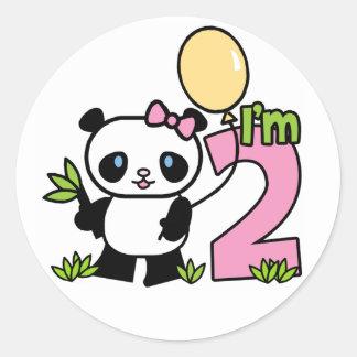 Panda Girl 2nd Birthday Classic Round Sticker