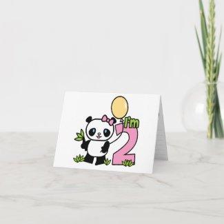 Panda Girl 2nd Birthday Invitations Card