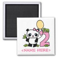 Panda Girl 2nd Birthday Refrigerator Magnets