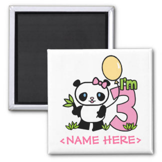 Panda Girl 3rd Birthday 2 Inch Square Magnet
