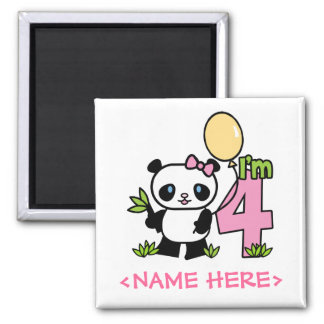 Panda Girl 4th Birthday 2 Inch Square Magnet