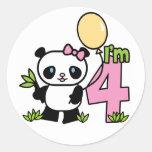 Panda Girl 4th Birthday Stickers