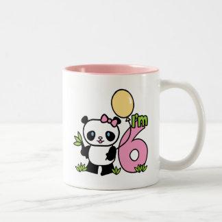 Panda Girl 6th Birthday Two-Tone Coffee Mug