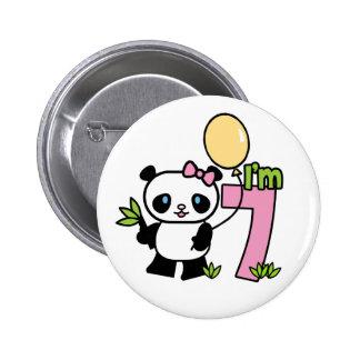 Panda Girl 7th Birthday Button