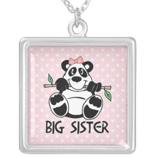 Panda Girl Big Sister Silver Plated Necklace