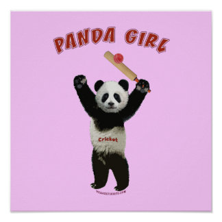 Panda Girl Cricket Posters
