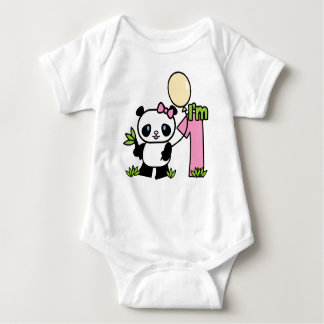 Panda Girl First Birthday Baby Bodysuit