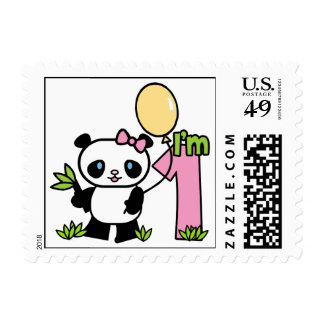 Panda Girl First Birthday Postage Stamps