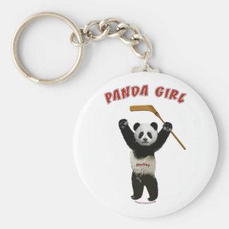 Panda Girl Hockey Bear Basic Round Button Keychain