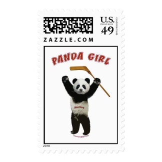 Panda Girl Hockey Bear Postage