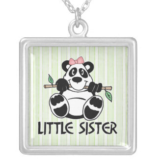 Panda Girl Little Sister Square Pendant Necklace