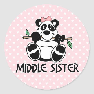 Panda Girl Middle Sister Classic Round Sticker