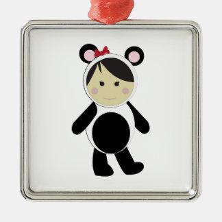 Panda Girl Square Metal Christmas Ornament