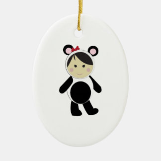 Panda Girl Double-Sided Oval Ceramic Christmas Ornament
