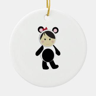 Panda Girl Double-Sided Ceramic Round Christmas Ornament