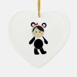 Panda Girl Double-Sided Heart Ceramic Christmas Ornament