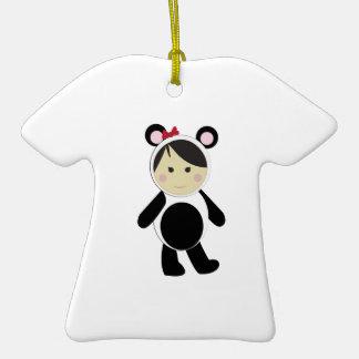 Panda Girl Double-Sided T-Shirt Ceramic Christmas Ornament