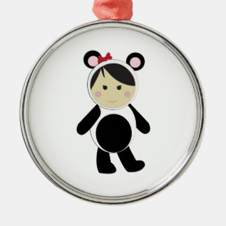 Panda Girl Round Metal Christmas Ornament