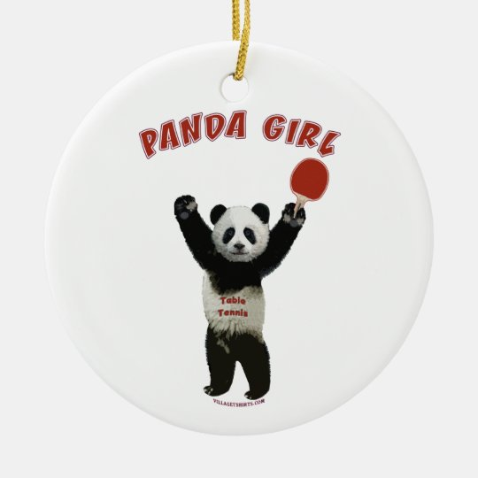 Panda Girl Ping Pong Ceramic Ornament