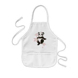 Panda girl with flowers aprons