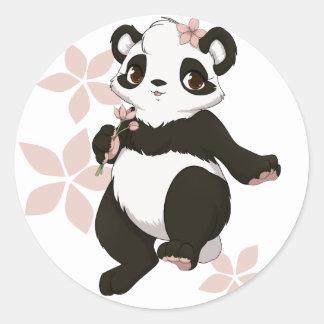Panda girl with flowers classic round sticker