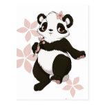 Panda girl with flowers postcard