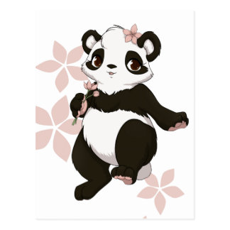 Panda girl with flowers postcard