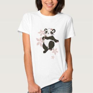 Panda girl with flowers t-shirt