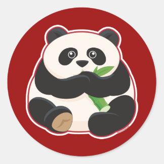 Panda gorda pegatinas redondas