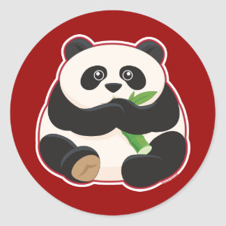 Panda gorda pegatina redonda