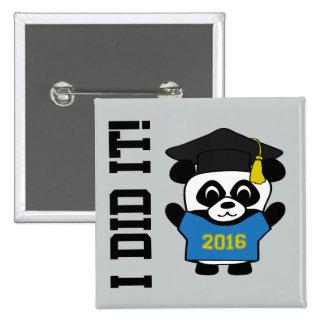 Panda Grad Wearing Blue & Gold 2016 Tee Pinback Button