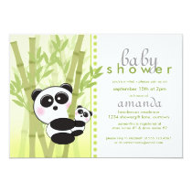 Panda (Green) Baby Shower Invitations