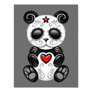 """Panda gris del azúcar del zombi invitación 4.25"""" x 5.5"""""""