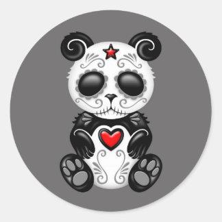 Panda gris del azúcar del zombi pegatinas redondas