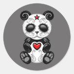 Panda gris del azúcar del zombi pegatina redonda