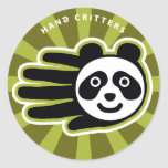 Hand shaped Panda Hand Classic Round Sticker