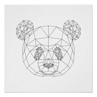 Panda Head Geometric Black White Modern Art Print