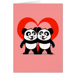 Greeting Card with Panda Pair Heart design