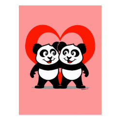 Postcard with Panda Pair Heart design