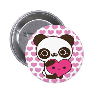 Panda Hearts 2 Inch Round Button